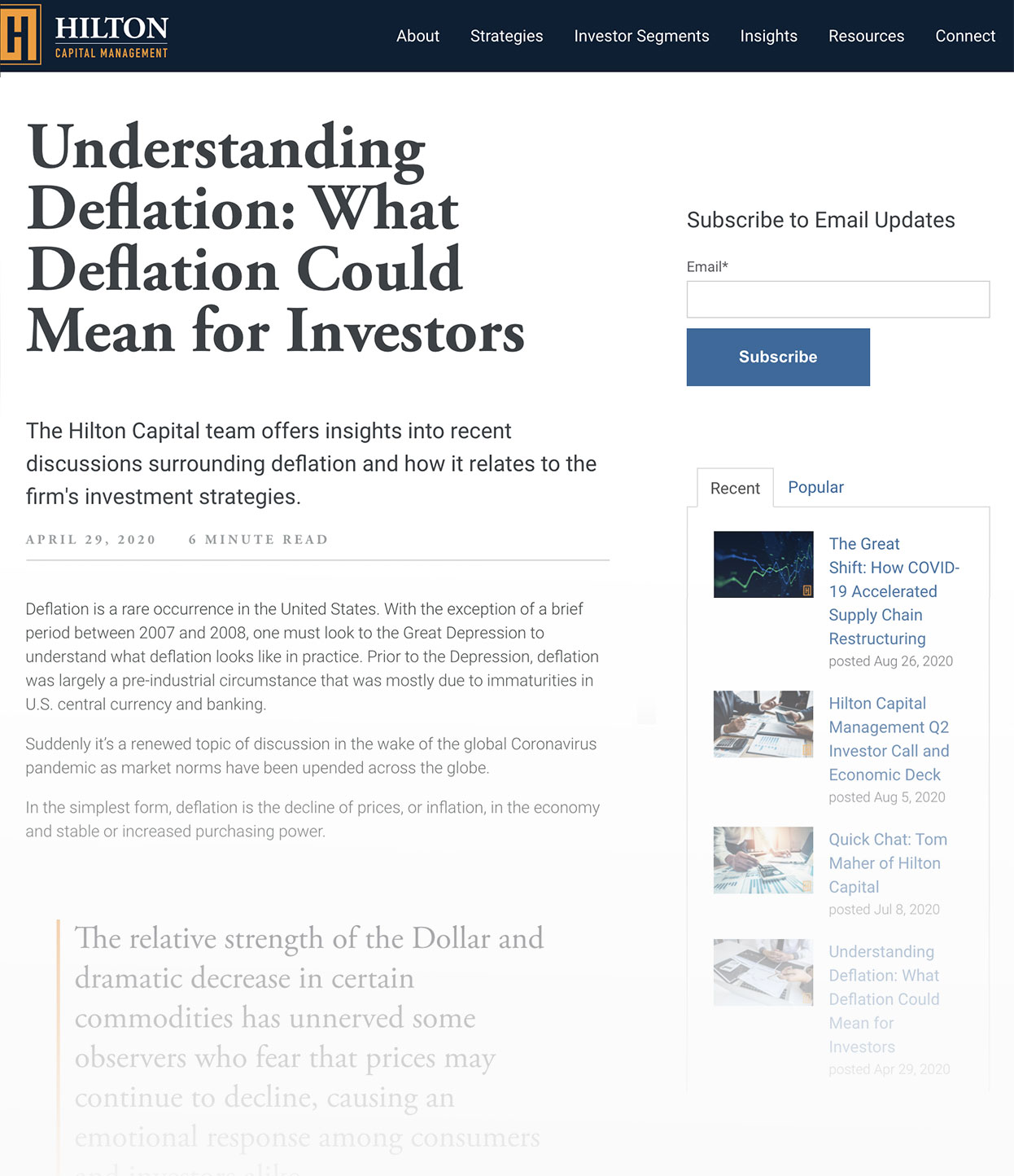 Screenshot of Hilton Capital Management Blog Called Understanding Deflation-What Deflation Could Mean for Investors