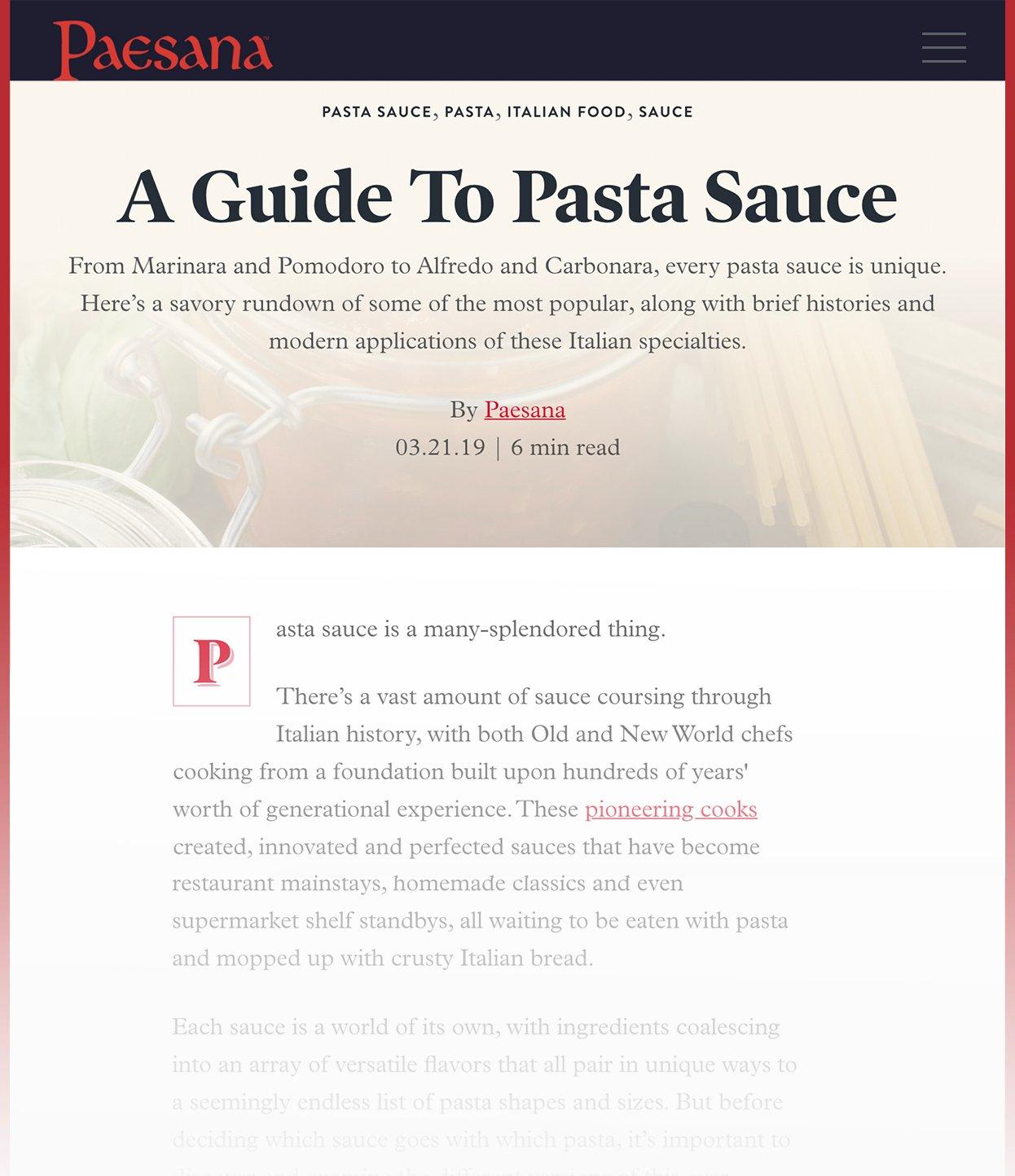 Screenshot of Paesana Blog called A Guide To Pasta Sauce