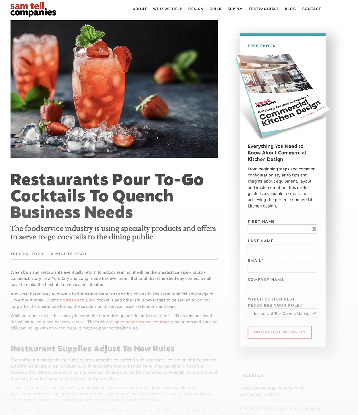 Screenshot of Sam Tell Blog called Restaurants Pour To-Go Cocktails To Quench Business Needs