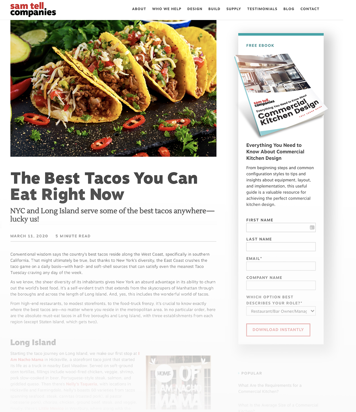 Screenshot of Sam Tell Blog called The Best Tacos You Can Eat Right Now